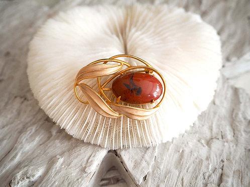 橘紅色瑪瑙寶石鍍金樹葉花型胸針扣針  日本高級二手中古珠寶首飾