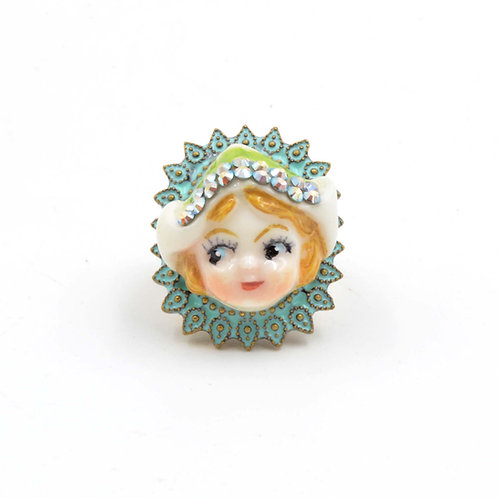荷蘭牛奶妹娃娃戒指 黃銅可翻新不掉色 可調整尺寸 綴施華洛水晶