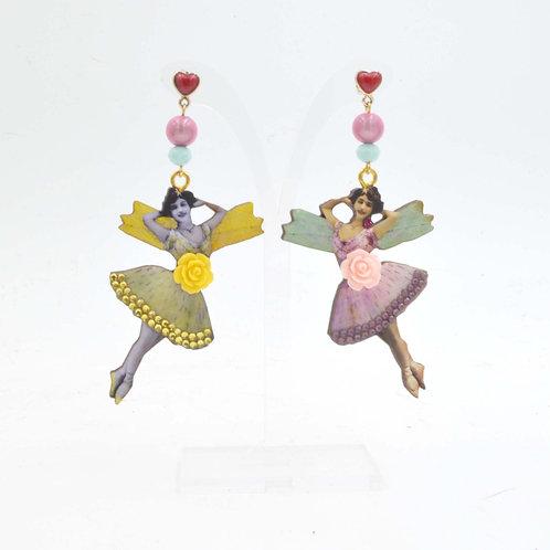 TIMBEE LO 復古風仙女圖案 木片耳環 綴施華洛水晶 Fairy ElfWooden Earrings