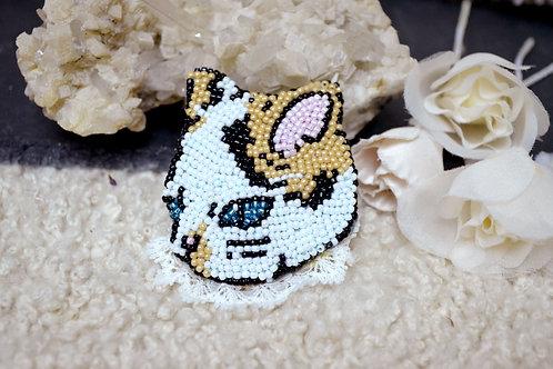 復古風手工串珠刺繡貓咪造型心口針 胸針別針扣針