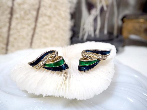 鍍銀水鑽絲帶型柔美夾式耳環耳夾 貴婦人淑女 日本高級二手古著珠寶首飾