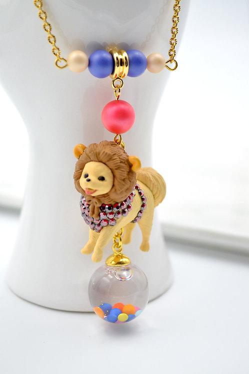 芝娃娃玻璃球 18K鍍金項鍊