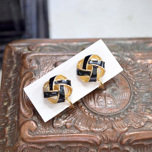 簡約貴族鍍金繩結圓型耳夾 貴婦淑女 日本高級二手古著珠寶首飾