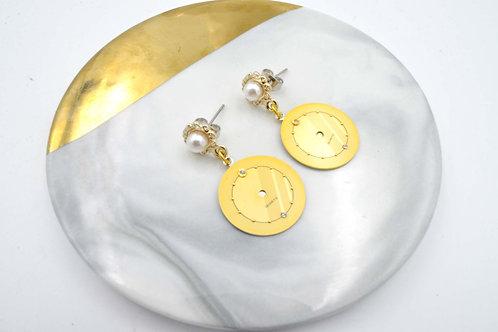 金色古董錶面耳環  Golden Vintage Dial Earrings