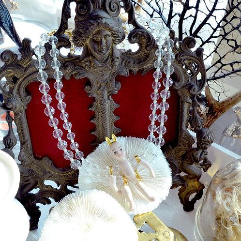活動陶瓷娃娃 配 雙串透明水晶項鍊