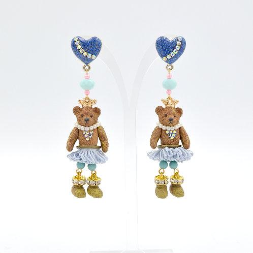 活動小腿奶油熊立體泡泡裙子耳環 Bear Girl with Dress Earrings