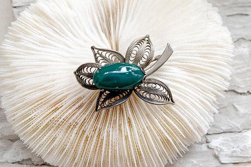 銀色花朵瑪瑙水晶石胸針別針 高貴優雅復古 日本中古二手珠寶首飾