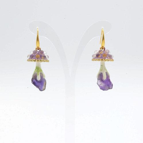 香芋紫色 Gookaso 蘑菇紫水晶魔法石耳環  粉晶 紫晶 綠松石 綠幽靈