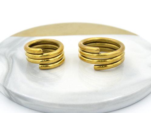 黃銅 白銅 三層圈圈戒 可永久翻新擦亮