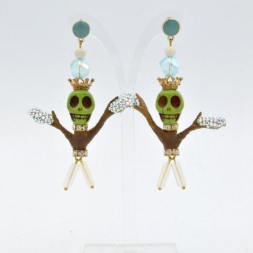 綠色骷髏頭樹精耳環