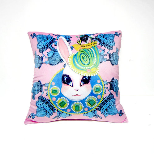 Gookaso 原創繪本設計創作 兔子皇后 卡通絲絨質印花抱枕 45x45cm