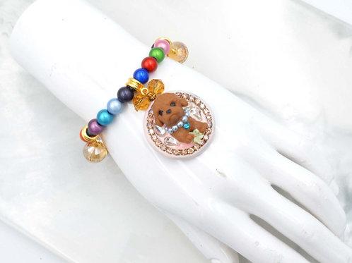 立體貴婦狗綴水晶石手鍊 七色彩虹珠子