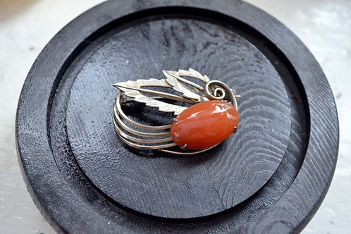 銀色雕花橘色瑪瑙水晶石胸針扣針 日本中古二手珠寶首飾高貴優雅