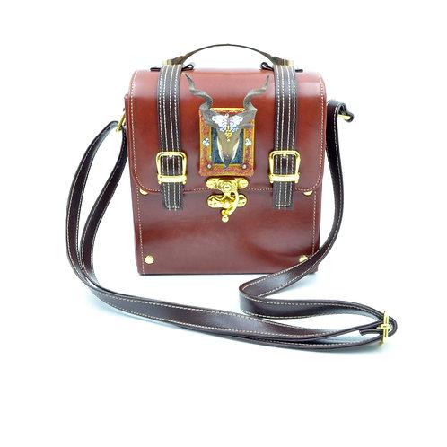 立體山羊頭綴寶石水晶裝飾 咖啡色PU仿皮箱子斜肩帶手袋包包