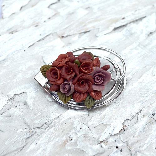 立體手工黏土紅色玫瑰花銀色胸針 日本高貴二手中古珠寶首飾