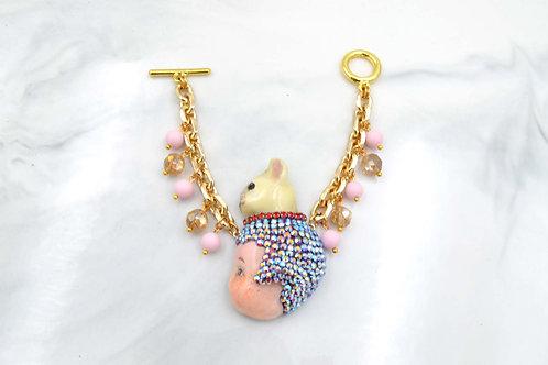 手工娃娃綴施華洛水晶手鍊 18K鍍真金銅鍊 貝殼珠子吊飾
