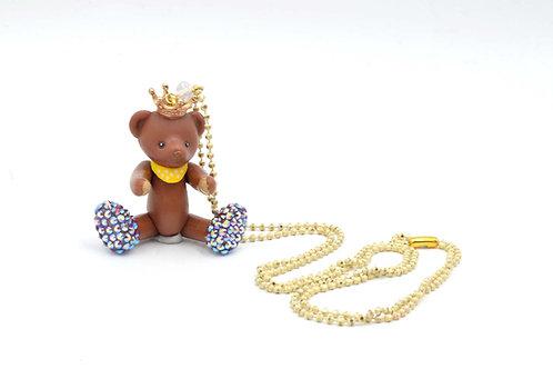 TIMBEE LO 啡色活動皇冠小熊頸鍊 綴上施華洛水晶腳子 全手工製作 的副本