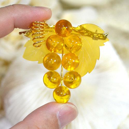 淡黃玳瑁琥珀樹葉葡萄胸針 貴婦輕珠寶 日本高級二手古著珠寶首飾
