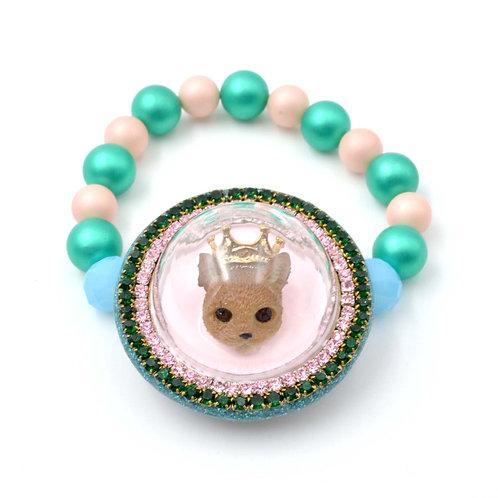 立體玻璃罩貓咪橡筋手鍊 綴施華洛水晶花邊 貝殼珍珠鍊