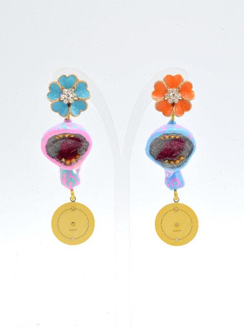 甜品色系豹紋大嘴巴怪獸耳環 全手工製作 法式琺瑯搪瓷上色