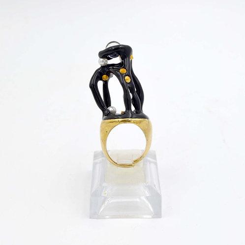 黑色流線型不規則藝術戒指 黃銅戒指托 可調整尺寸
