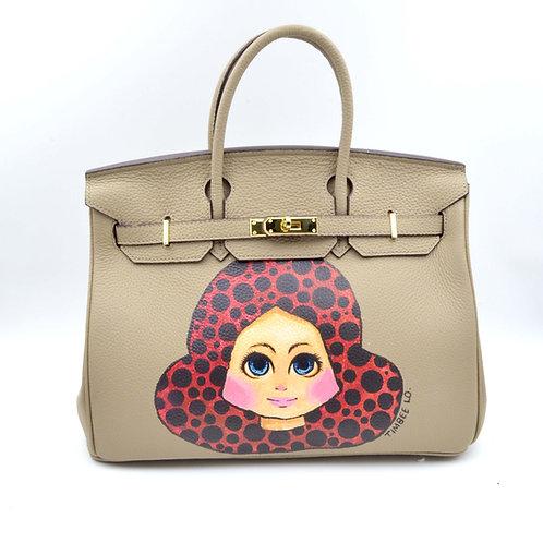 TIMBEE LO X GOOKASO 設計師手繪女孩圖案頭層牛皮手袋包包 接單訂製款 Hand Paiinting Handbag Made to Order