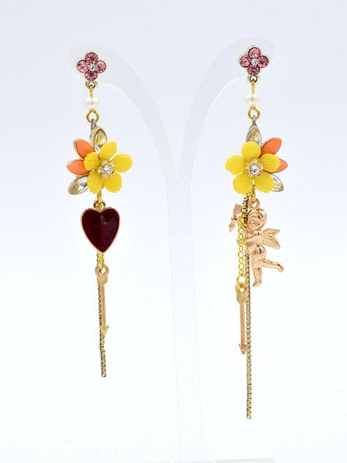 黃色小花紅心天使耳環