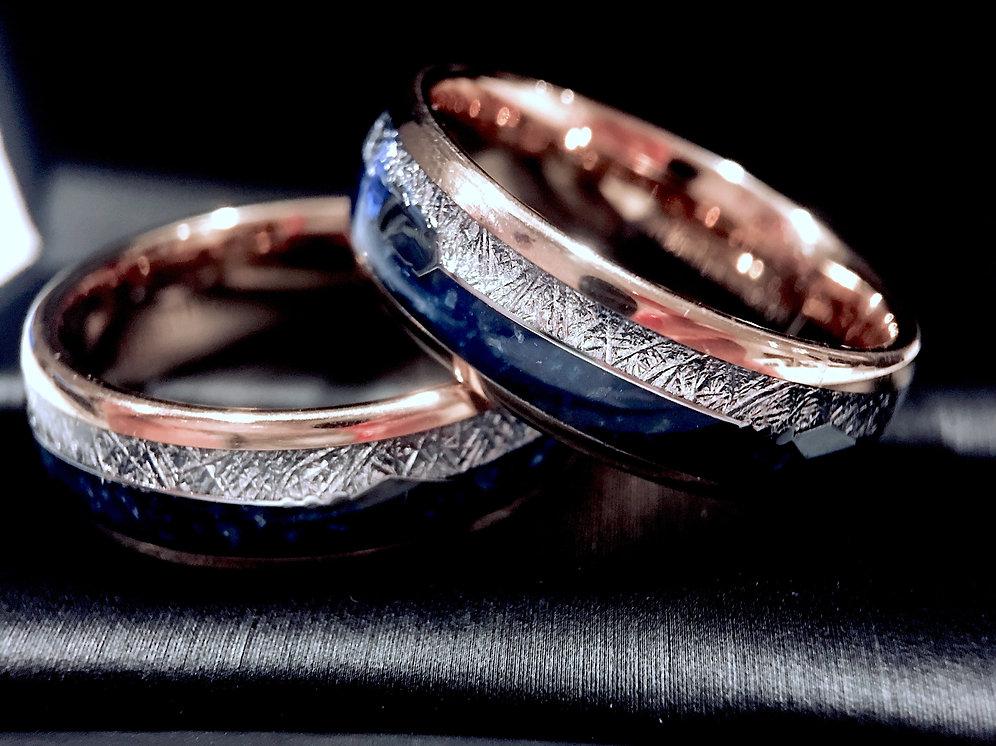 Mens Wedding Band Women Wedding Ring Matching Rings Set Agate Meteorite Inlay