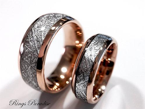 Matching Rose Gold Meteorite Rings, Meteorite Tungsten Ring 6mm-8mm