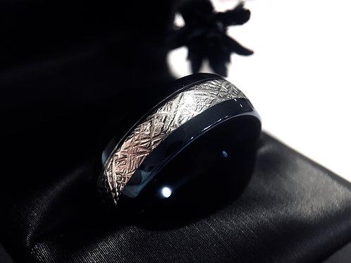 Blue Meteorite Ring, Tungsten Wedding Band, Blue Tungsten Ring