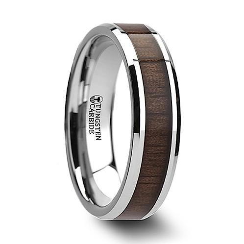 Tungsten Wedding Band, Koa Wood Inlay 6-10mm