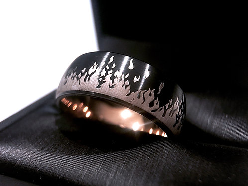 Mens Tungsten Wedding Bans, Black and Rose Gold Tungsten Ring, His and Her Promise Ring, Engagement Rings, Mens Tungsten Ring