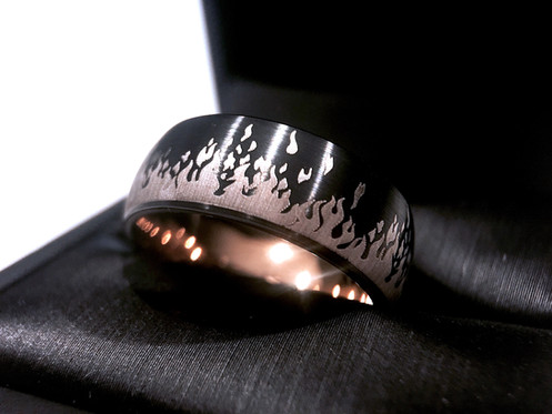 868c986d6d Mens Tungsten Wedding Bans, Black and Rose Gold Tungsten Ring, His and Her  Promise
