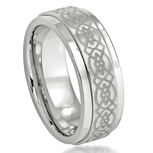 Cobalt Ring,  Laser Engraved Celtic Design  8mm