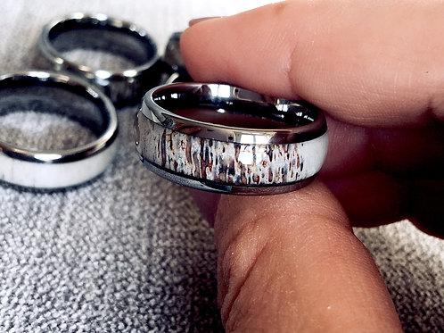 Antler Ring, Mens and Women Antler Bands, Wedding Bands 8mm