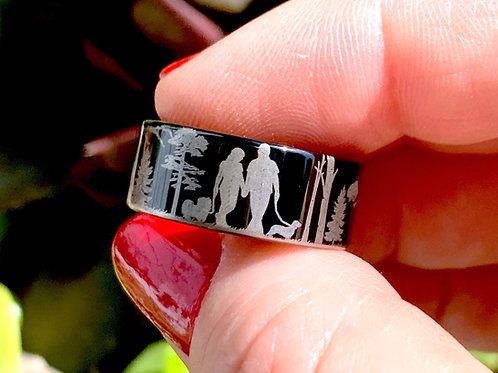 Men and Women walking in Woods with a Shih Tzu Dog and Dachshund Tungsten Ring