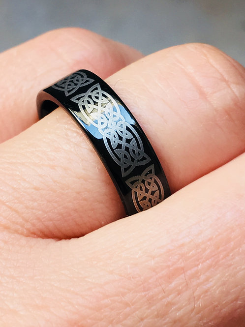 Black Celtic Ring, Tungsten Wedding Band, His & Her Engagement Rings, Knot Ring
