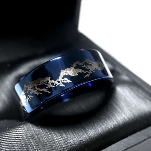 Mountains Range Pattern Engraved Tungsten Wedding Band Mens Ring Blue Custom Bands Unique