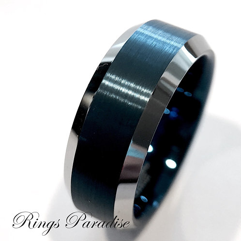 Blue Tungsten Wedding Bands, His and Her Promise Rings, Tungsten Rings, Wedding