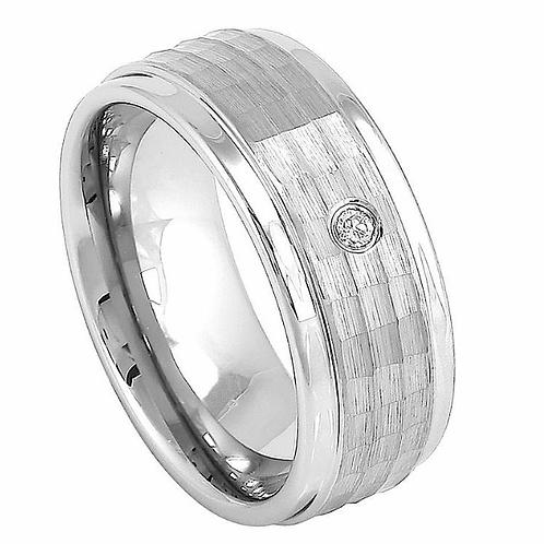 Cobalt Ring with  White Diamond 8mm