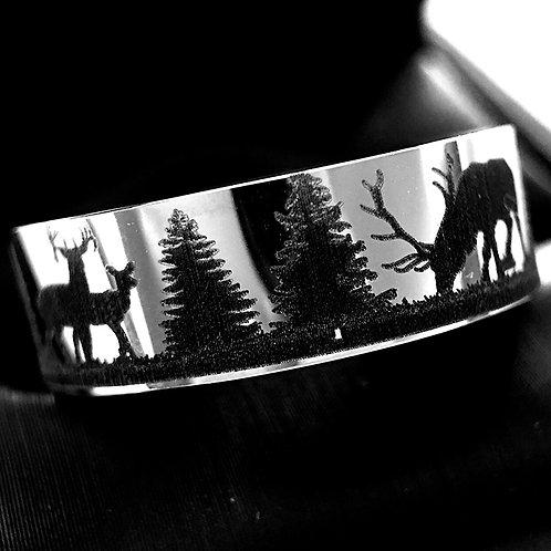 Wedding Bands, Antler Ring, Elks in Mountains Forest landscape Engraved Ring