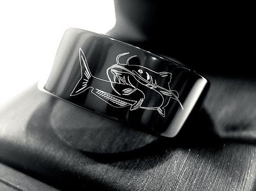 Catfish Ring, Catfish Band, Fisherman Ring, Black Wedding Bands, Mens Black Tungsten Ring, Mens Engagement Ring, Fish Ring