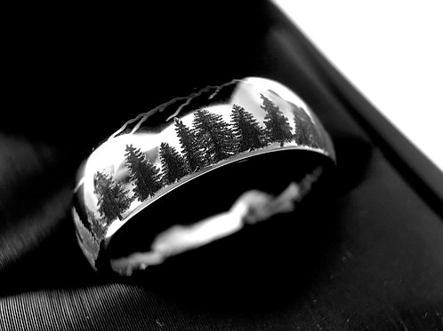 Wedding Bands, Fir Trees Engraved Tungsten Ring, Wedding Band, Domed 5mm & 7mm