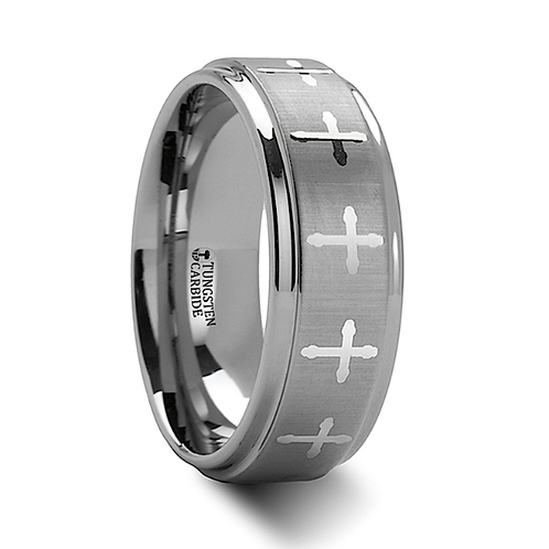 Engraved Crosses Tungsten Carbide Wedding Band