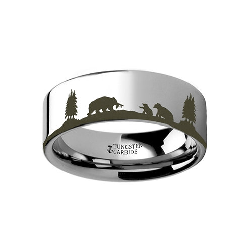 Scene Bears Bear Cubs Ring  Tungsten Wedding Band