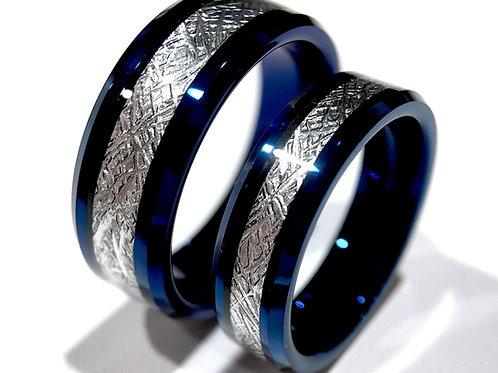 Meteorite Rings, Matching Rings Set, Couples Ring, Blue Tungsten Wedding Bands
