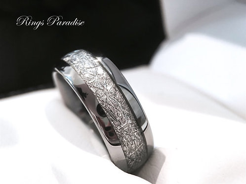 Wedding Bands Tungsten Meteorite Ring, Mens Wedding Band, Women Wedding Ring, Engagement Rings, His and Hers Wedding Bands
