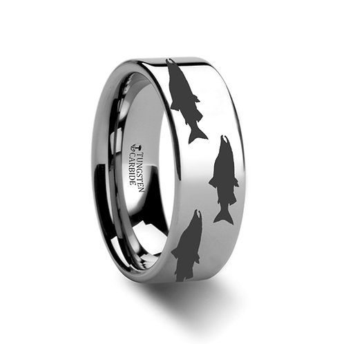 Salmon Fish Sea Pattern Ring, Tungsten Band