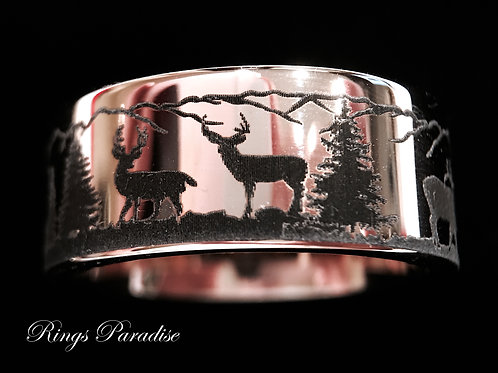 Deer Elk Stag Pattern Engraved Tungsten Band, Custom Engraved Tungsten Ring