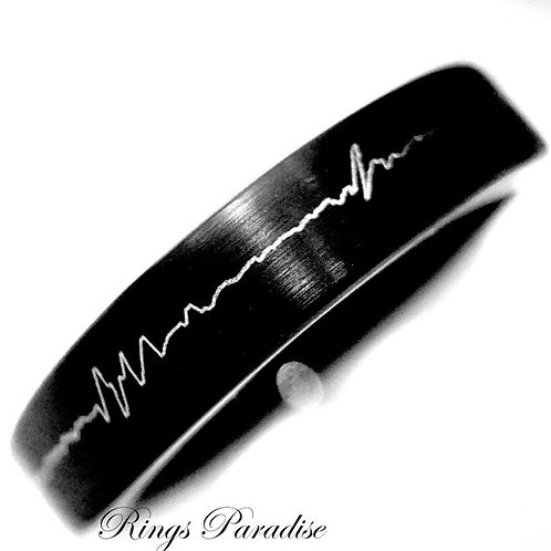 Heartbeat Patters Engrave Black tungsten Ring, Mens Wedding Bands, Women Tungsten Ring, 4mm Black Tungsten Ring, Brushed